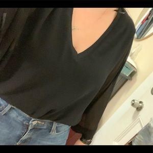 Zara Black Sheer 3/4 Sleeves Flowy Shirt